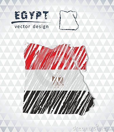 Free Egypt Vector Map With Flag Inside Isolated On A White Background. Sketch Chalk Hand Drawn Illustration Stock Photography - 118543712