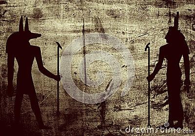 Egyptian mythology symbols on grunge wall background