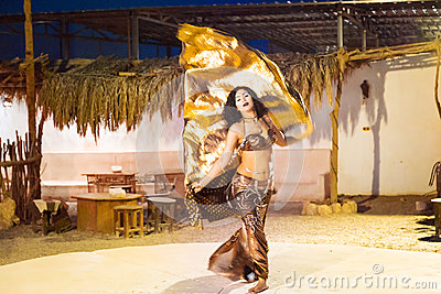 Egyptian belly dancer at performance Editorial Photo