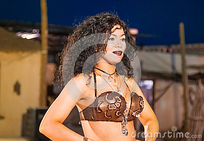 Egyptian belly dancer at performance Editorial Stock Image