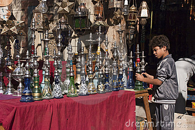 Egyptian Boy, Street Vendor, Shisha Hookah Shop Editorial Photography