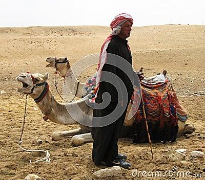 Egyptian camel minder Editorial Stock Image