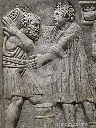Egyptian carved bas relief of two men