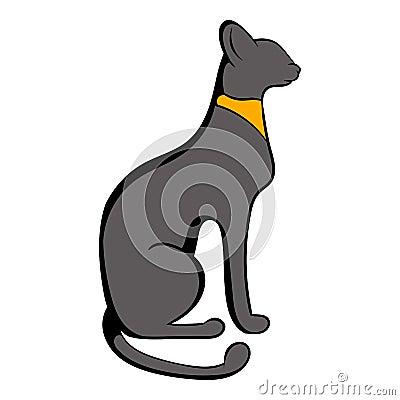 Egyptian cat icon cartoon Vector Illustration