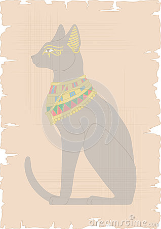 Egyptian Cat on Papyrus