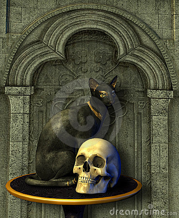 Free Egyptian Cat Statue With Skull Stock Image - 238161