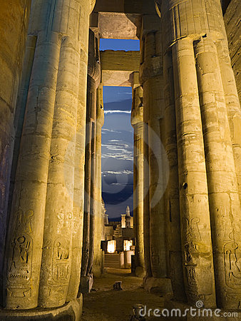 Egyptian columns at night