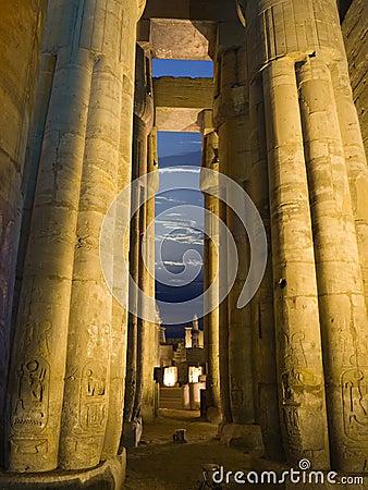 Egyptian columns at night