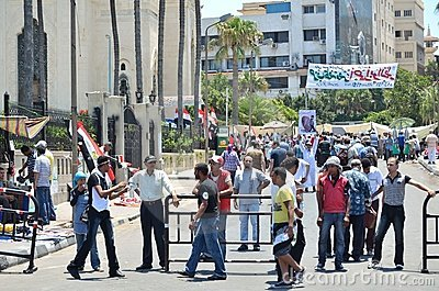 Egyptian demonstrations, citizen s check point Editorial Image