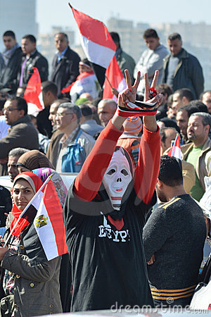 Egyptian demonstrator wearing mask Editorial Stock Image