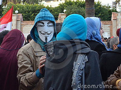 Egyptian demonstrator wearing mask Editorial Photography