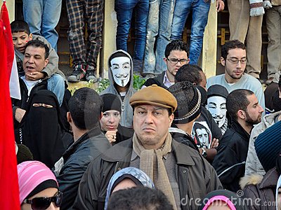 Egyptian demonstrators wearing masks Editorial Photo
