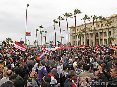 Egyptian demostrators in Alex Editorial Image