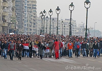 Egyptian demostrators in Alexandria Editorial Photo
