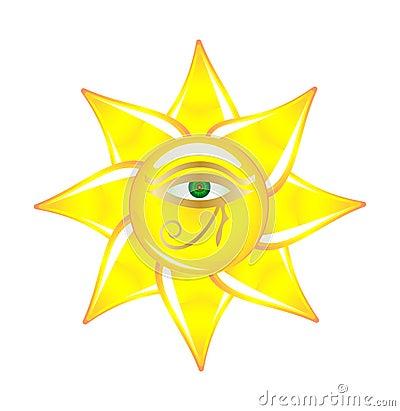 Egyptian eye on the sun glass