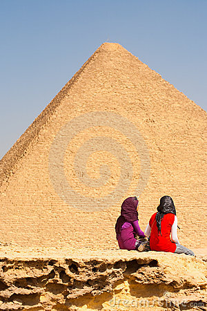Egyptian Girls Friends Moment Pyramids Editorial Stock Photo