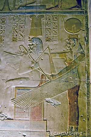 Egyptian Goddess Mut with Pharoah Seti