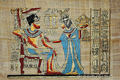 Egyptian gold drawing papyrus