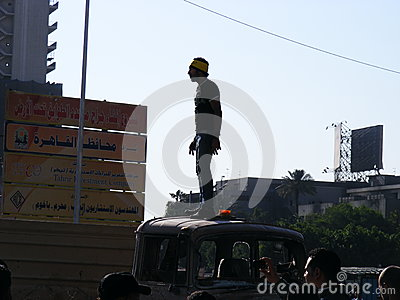 Egyptian guy tahrir square Egyptian revolution Editorial Stock Image