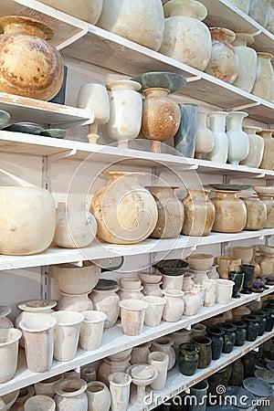 Egyptian hand made stone jugs