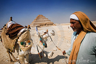 Egyptian and his camel Editorial Image