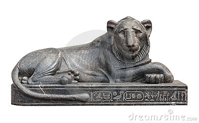 Egyptian lion sculpture