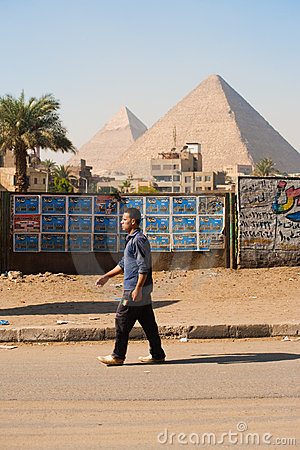 Egyptian Man Walking Giza Pyramids Editorial Photo