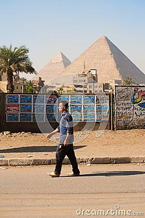 Egyptian Man Walking Giza Pyramids Editorial Photo