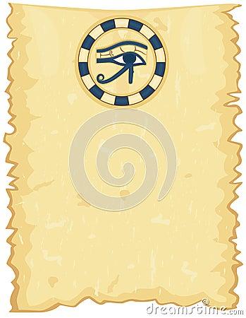 Egyptian papyrus with Horus Eye