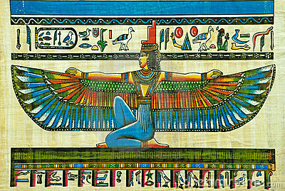 Egyptian papyrus painting Editorial Stock Image