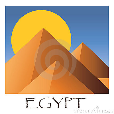 Cartoon vector illustration of Egyptian pyramids.