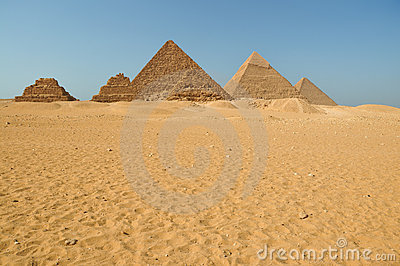 Egyptian pyramids in the desert