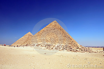 Egyptian pyramids in desert