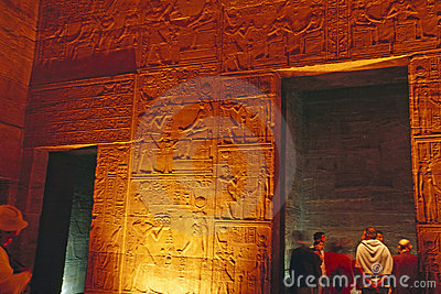Egyptian Relief and Tourists inside Philae Temple