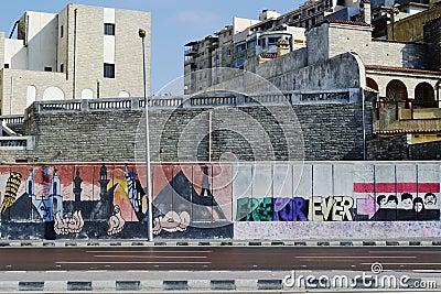 Egyptian Revolution s Graffiti Editorial Image
