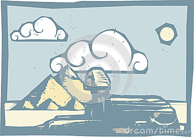 Egyptian Sphinx with clouds