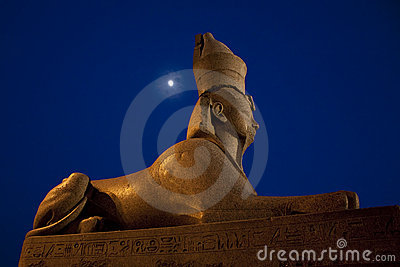 Egyptian sphinx and moon in Saint-Petersburg