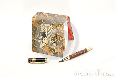 Egyptian style notebook and pen