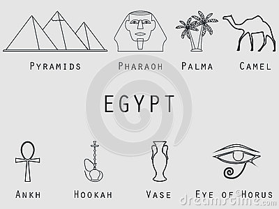 Egyptian Symbols Icons Icons From The Lines Of Palm Trees Pyramids