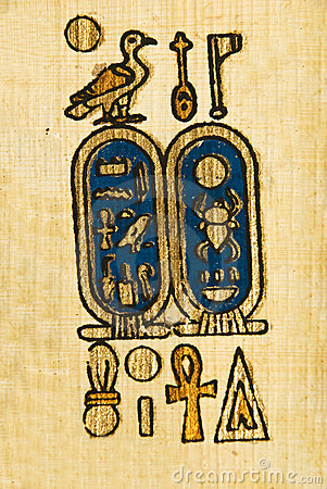 Egyptian symbols on papyrus