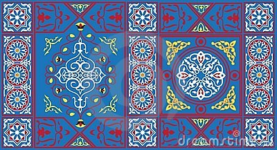 Egyptian Tent Fabric Pattern 1-blue