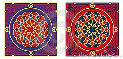 Egyptian Tent Fabric Pattern 3-Red & Blue