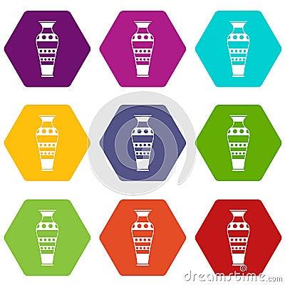Free Egyptian Vase Icon Set Color Hexahedron Stock Photos - 110529283