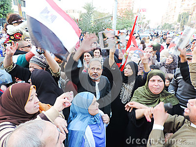 Egyptian women Sharing revolution Editorial Photo
