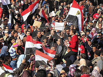 Egyptians calling for the resignation of Mubarak Editorial Image