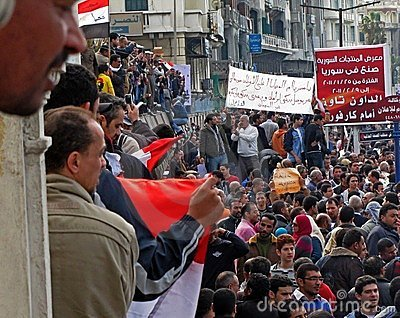Egyptians calling for the resignation of Mubarak Editorial Photography