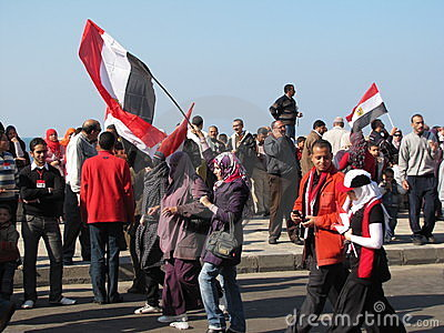 Egyptians celebrating the resignation of President Editorial Photo