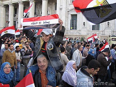 Egyptians demanding resignation of the President Editorial Image