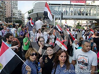 Egyptians demonstrate against Muslim Brotherhood Editorial Stock Image
