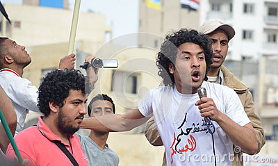 Egyptians demonstrating against Military Council Editorial Image
